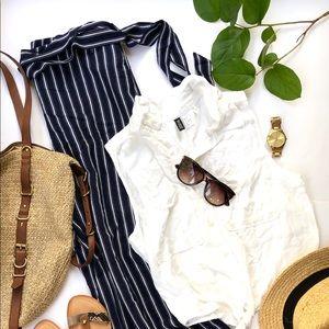 Reitmans linen tie waist pants and H&M blouse set